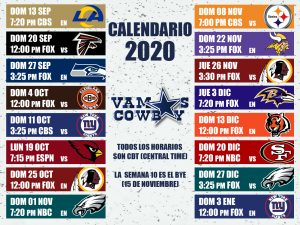 Calendario 2020 Vamos Cowboys